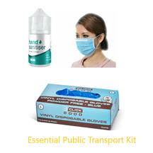 Essential Public Transport Kit 5x Hand Sanitiser, 50x 3Ply Masks, 100 Gloves