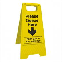 Please Queue Here Floor Stand