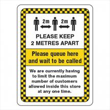 Please Queue Here And Wait To Be Called Sign