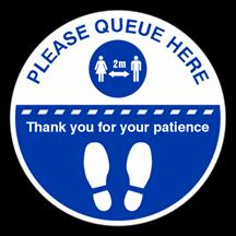 Please Queue Here Floor Sticker