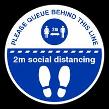 Please Queue Behind This Line Floor Sticker