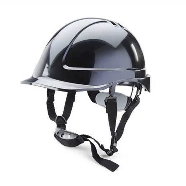 Reduced Peak Safety Helmet with 4 Point Chinstrap Black or White BBSHRP