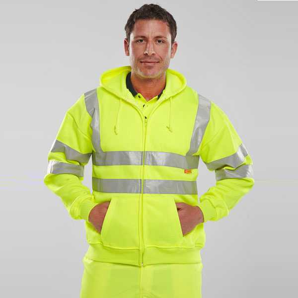 Hi Vis Hooded Fully Zipped Sweatshirt Yellow or Orange BSHSSEN