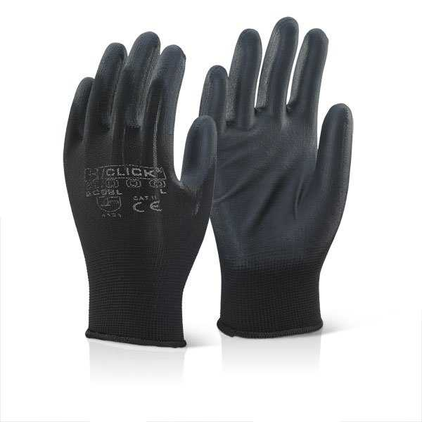 PU Coated Glove Black EC9 Alternative to Disposable Gloves