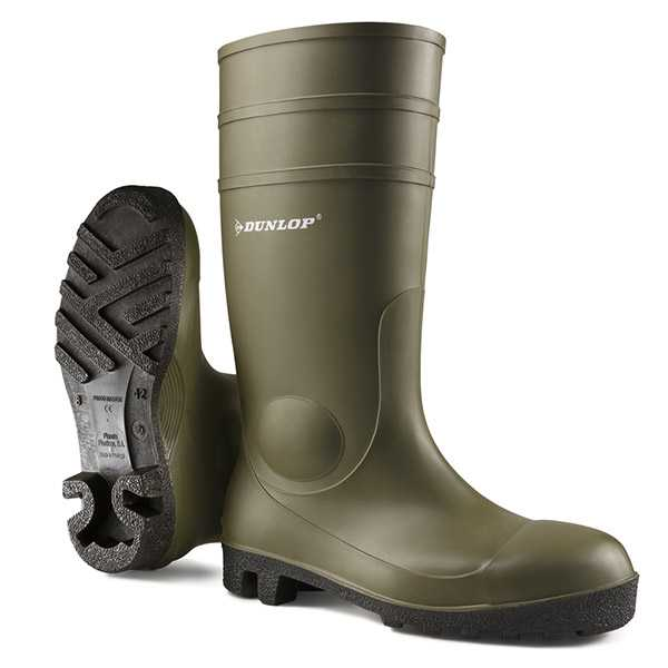 Dunlop Protomaster Full Safety Wellingtons Green 142VP