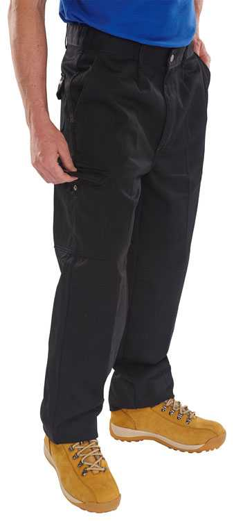 PolyCotton 9oz Unisex Trousers with Knee Pad Pockets Black, Grey or Navy Regular or Tall Leg