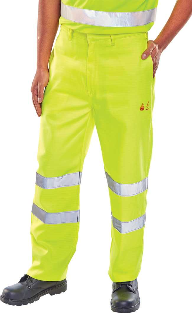 TESLA FIRE RETARDANT A/STATIC HI VIS TROUSERS Regular or Tall Leg CFRASTETSY