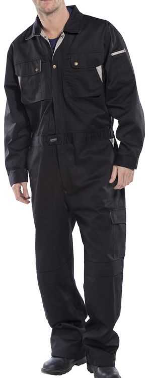 Polycotton Multi-Pocket Coverall Black Navy or Red CPC