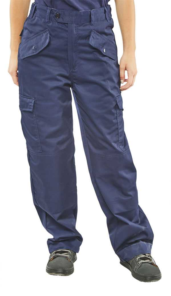 Ladies Polycotton Navy Trousers Sizes 24-48 LPCTHWN