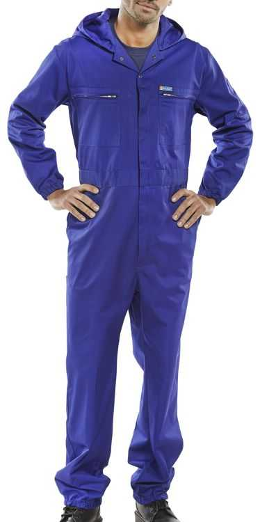 Polycotton Boiler Suit with Hood Royal Blue PCBSHCAR