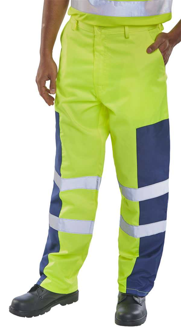 Polycotton Yellow/Navy Trousers Regular or Tall PCTSYNNP
