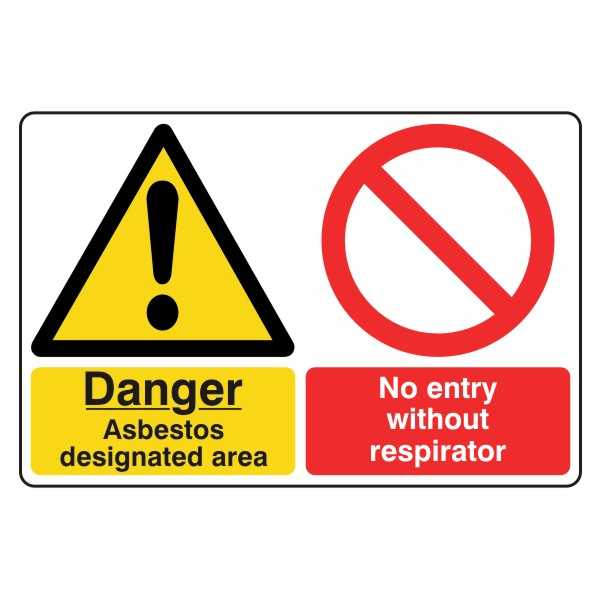 Danger - Asbestos Designated Area - No Entry Without Respirator