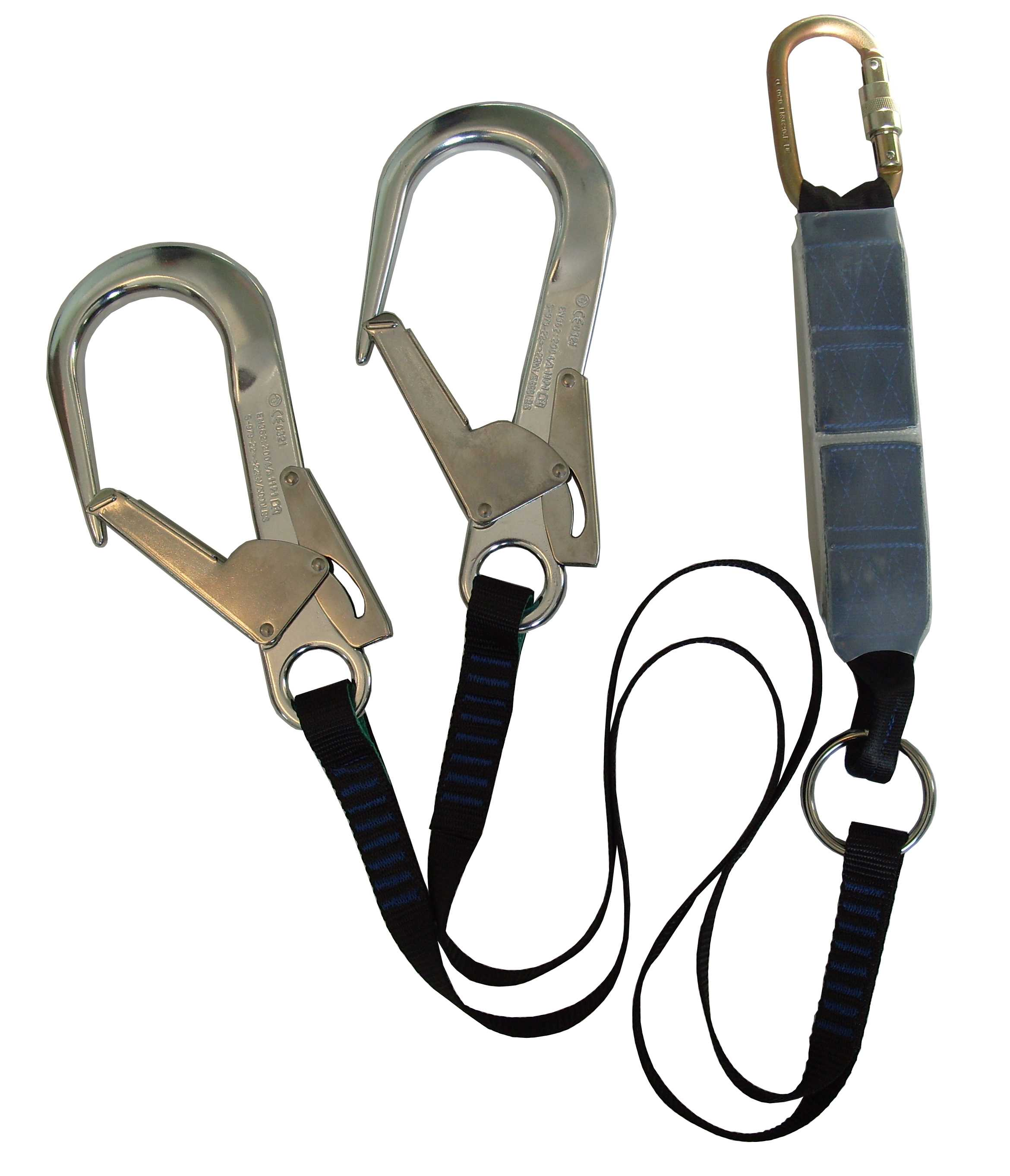 Twin Shock Absorbing Lanyard 1.5m with Scaffold Hook Each End ABLTW1.5SH
