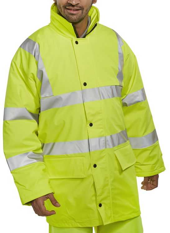 Hi Vis PU Waterproof Lined Jacket Yellow PULJ471SY