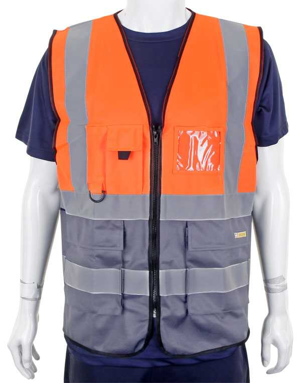 Hi Vis Vest Two Tone Orange Grey HVWCTTORGY