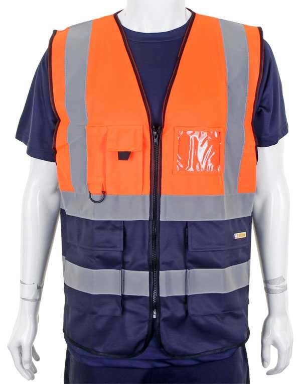 Hi Vis Vest Two Tone Orange Navy HVWCTTORN