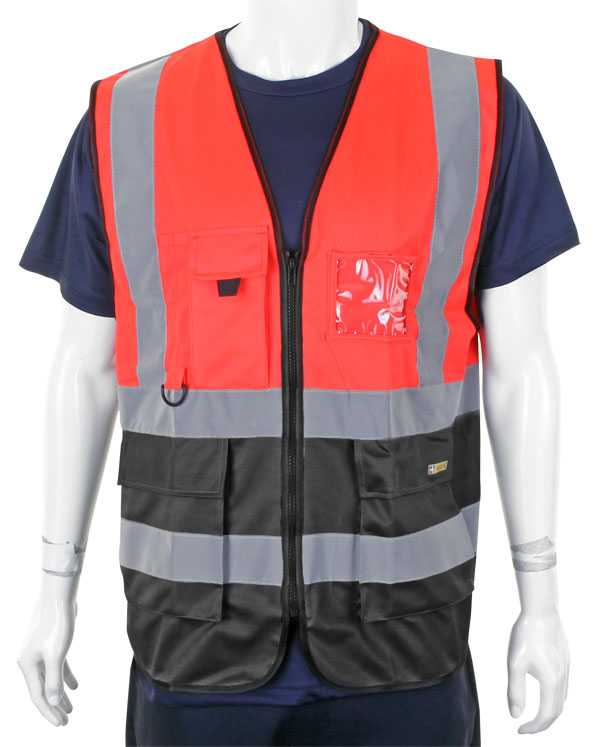 Hi Vis Vest Two Tone Red Black HVWCTTREBL