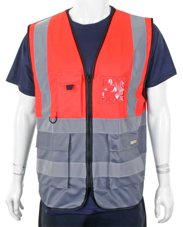Hi Vis Vest Two Tone Red Grey HVWCTTREGY