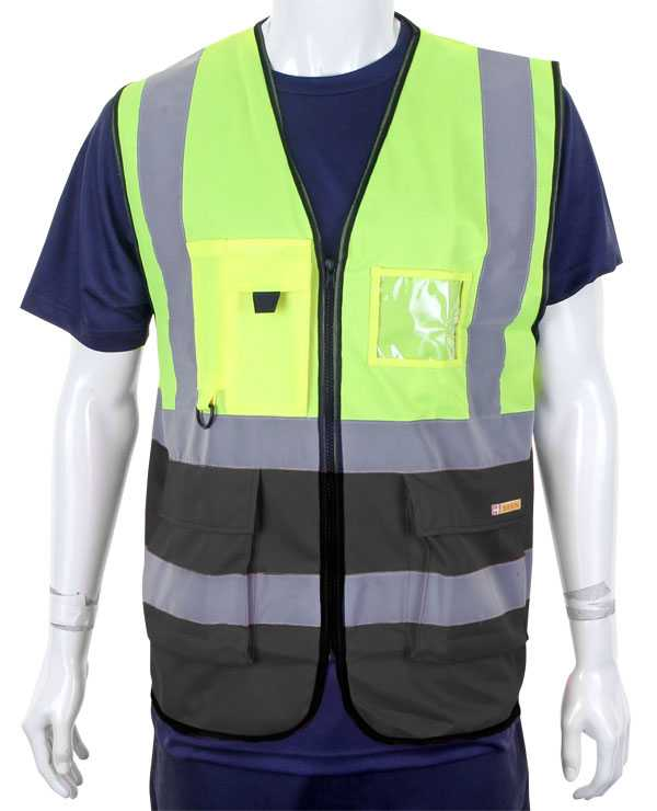 Hi Vis Vest Two Tone Yellow Black Sizes XS-3XL  HVWCTTSYBL