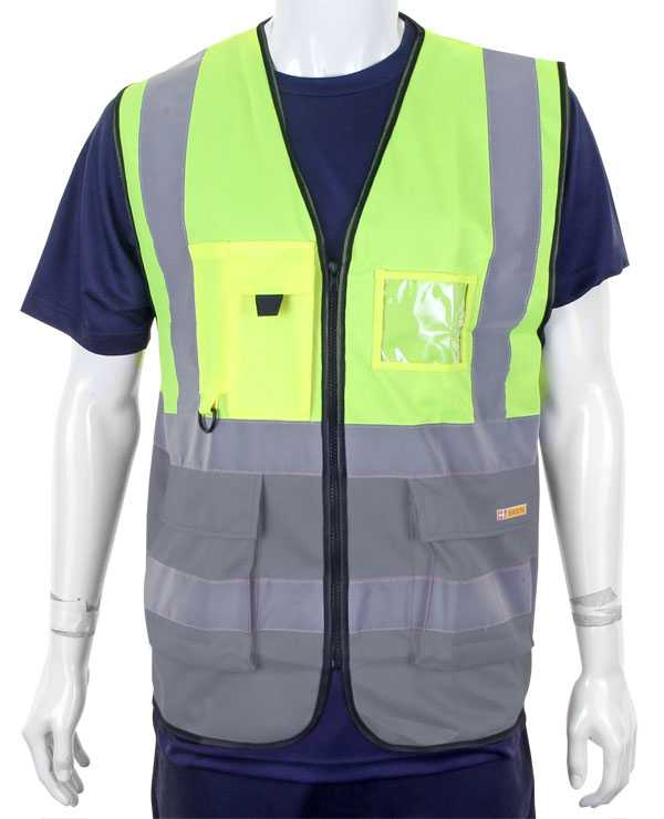 Hi Vis Vest Two Tone Yellow Grey HVWCTTSYGY
