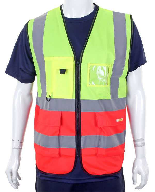Hi Vis Vest Two Tone Yellow Red HVWCTTSYRE