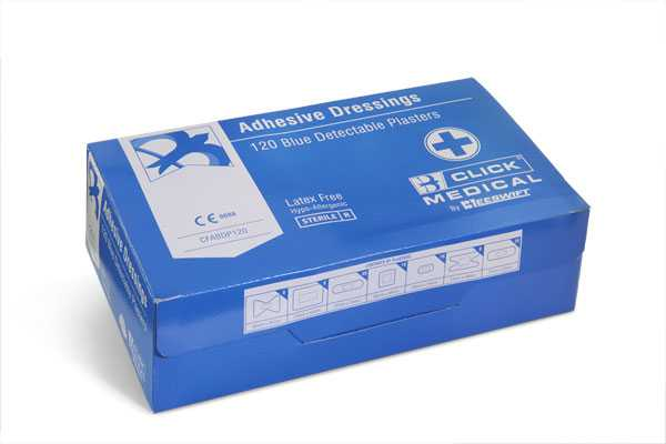 Blue Detectable Plasters 120 Assorted CFADP120